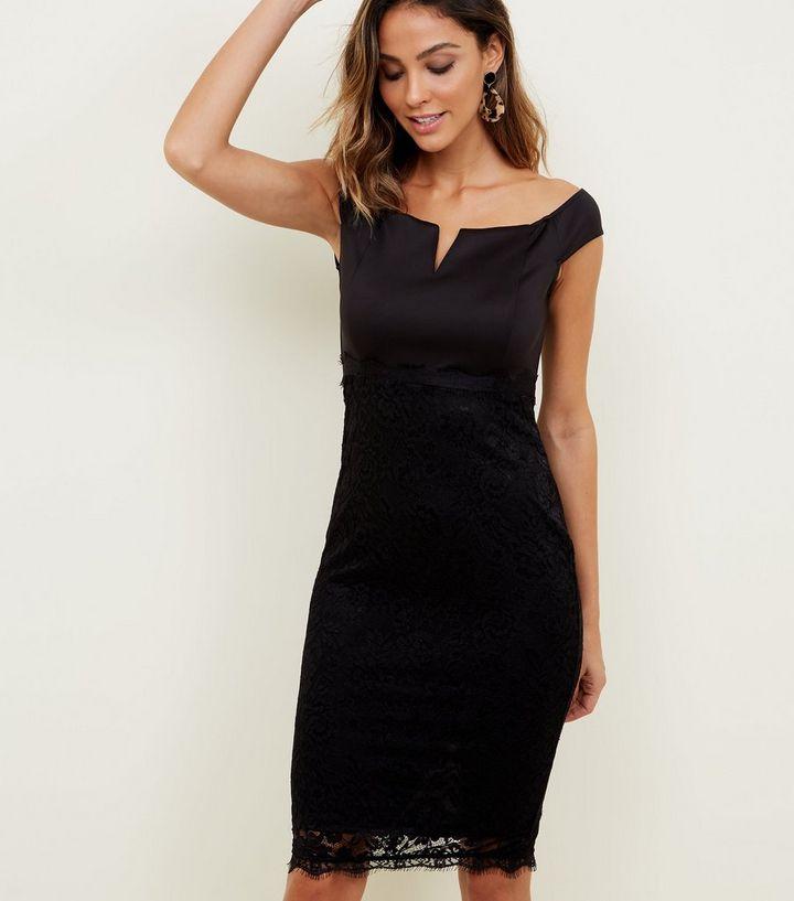 297c3731980 AX Paris Black Notch Neck Satin and Lace Dress