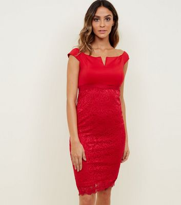 AX Paris Red Notch Neck Satin and Lace Dress