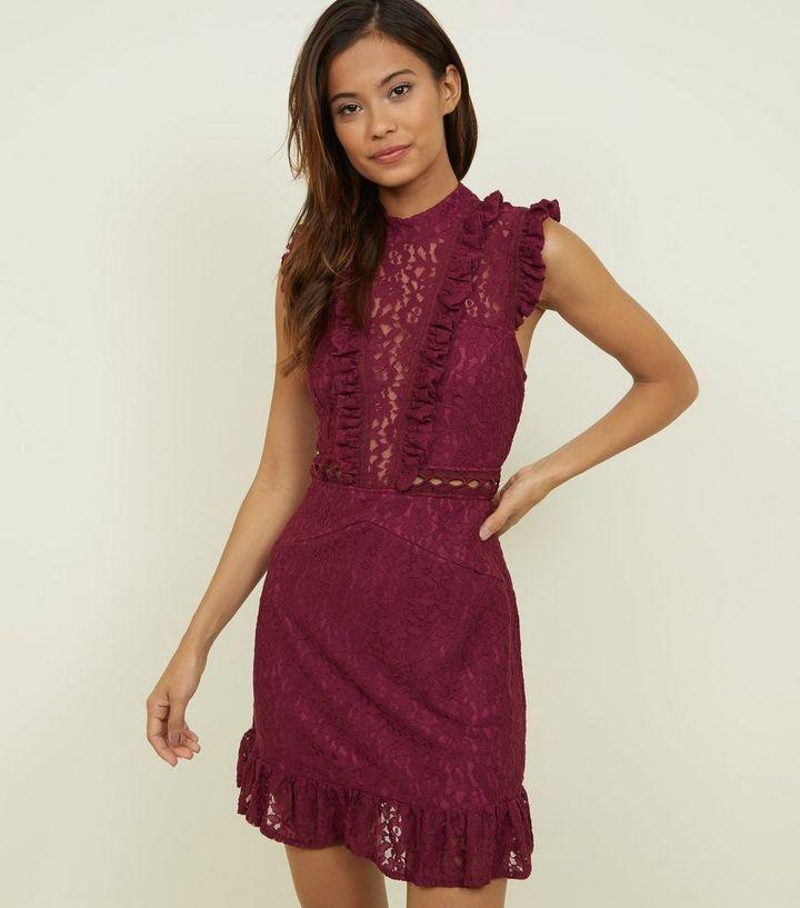 3e6b5e78 AX Paris Burgundy Lace Frill Yoke Dress | New Look