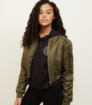 Girls Khaki Satin Cropped Bomber Jacket