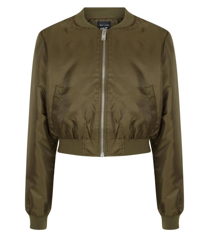 dc2f8421d Girls Khaki Satin Cropped Bomber Jacket Add to Saved Items Remove from  Saved Items
