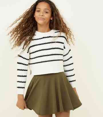 Girls Khaki Skater Skirt