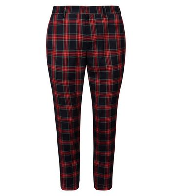 Red Tartan Check Skinny Cropped Trousers New Look