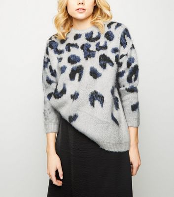Light Grey Brushed Leopard Print Jumper
