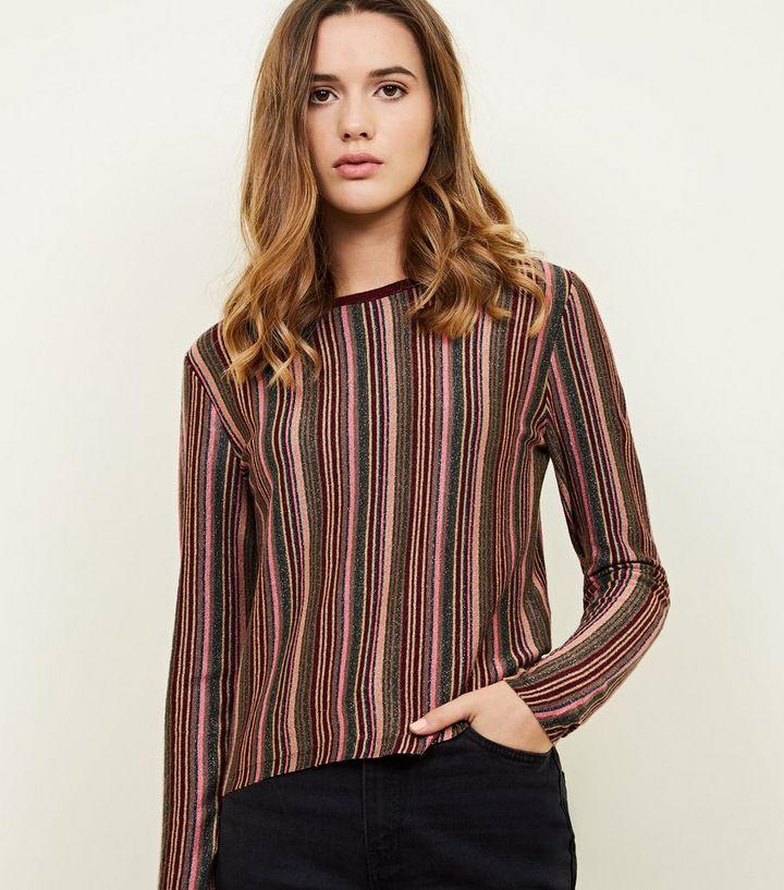 d504f9a1abdc3e Burgundy Glitter Multi Stripe Long Sleeve T-Shirt | New Look