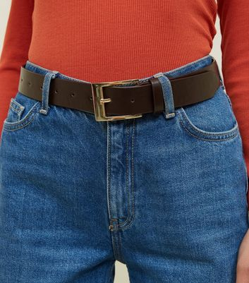 Dark Brown Leather-Look Jeans Belts