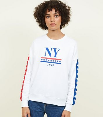 White NY Star Tape Sweatshirt