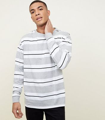 Grey Long Sleeve Stripe T-Shirt
