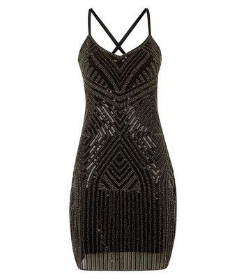 blue vanilla black beaded slip dress new look