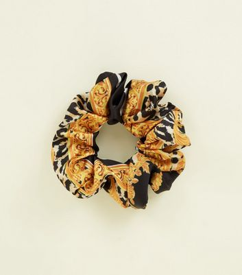 Black Vintage-Look Chain and Leopard Print Scrunchie