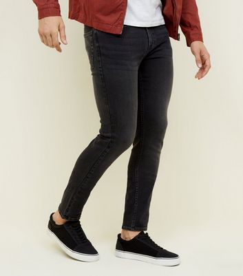 Dark Grey Flat Washed Black Skinny Jeans