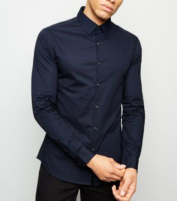 Navy Long Sleeve Muscle Fit Shirt