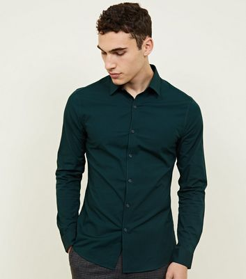 Dark Green Muscle Fit Poplin Shirt
