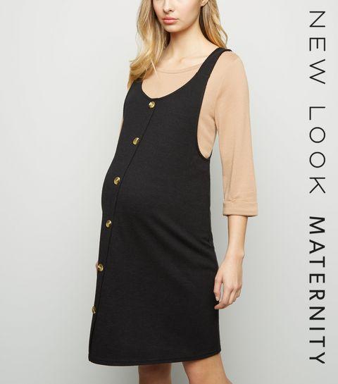 9d54229f0e6 ... Maternity Black Button Front Pinafore Dress ...
