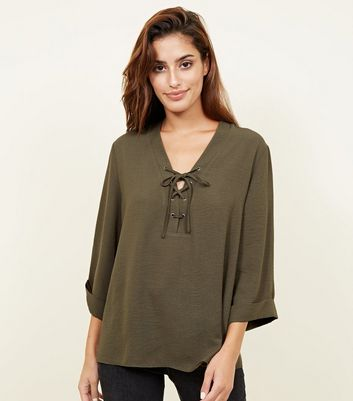Khaki Lace-Up 3/4 Sleeve Blouse
