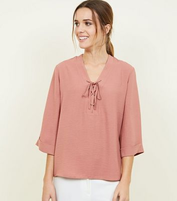 Pink Lace-Up 3/4 Sleeve Blouse