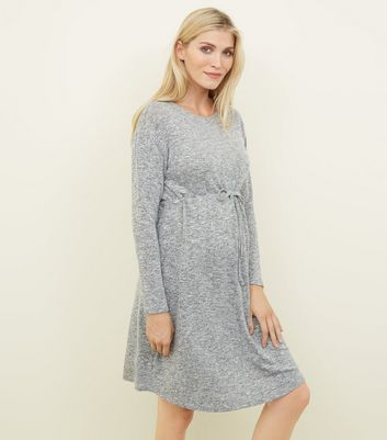 Maternity Grey Fine Knit Drawstring Waist Dress