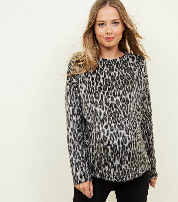 6e938626364d Maternity Grey Leopard Print Brushed Fine Knit Top | New Look