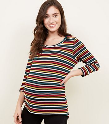 Maternity Fine Knit Thin Rainbow Strip Top