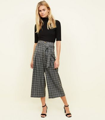Grey Check Tie Cropped Trousers