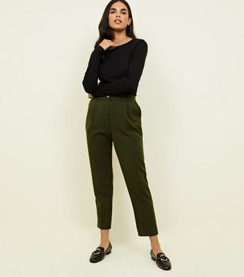 Khaki Tapered Pull-On Trousers