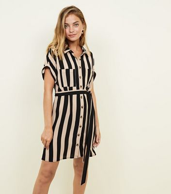 Petite Tan Stripe Crepe Shirt Dress