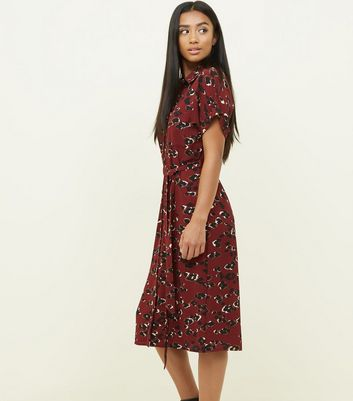 Petite Burgundy Camo Print Midi Shirt Dress