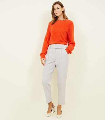 Pale Grey Buckle Belted High Waist Trousers by New Look