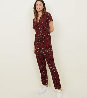 Tall Burgundy Leopard Print Jumpsuit New Look