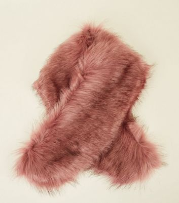 Mid Pink Faux Fur Collar