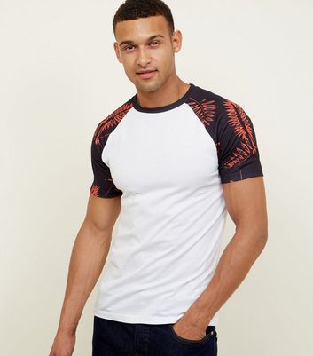 White Leaf Print Muscle Fit T-Shirt