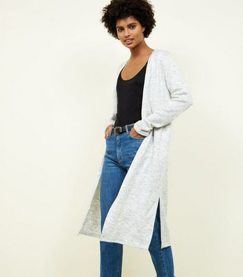 Pale Grey Side Split Longline Cardigan