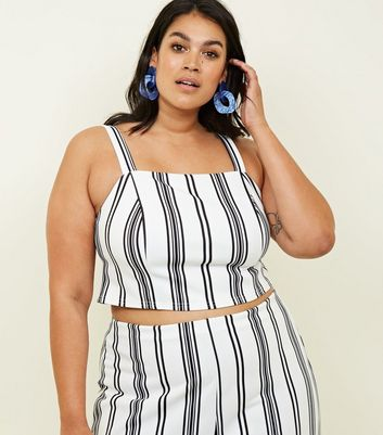 Curves White Vertical Stripe Crop Top