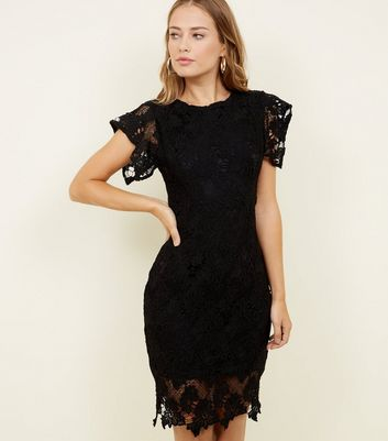 AX Paris Black Crochet Bodycon Dress