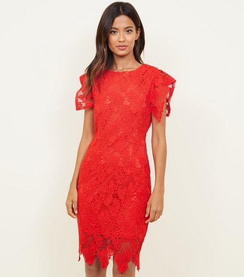 fbc3fbaa5d7 ... AX Paris Red Crochet Lace Bodycon Dress ...