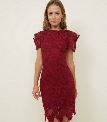 AX Paris Burgundy Crochet Lace Bodycon Dress