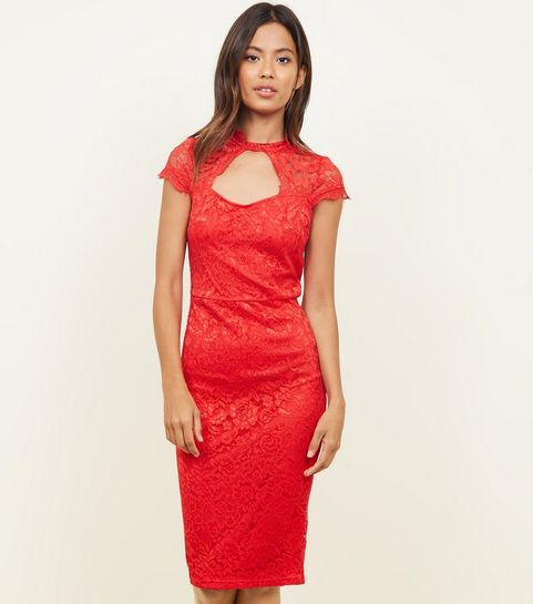 b69993b1692 ... AX Paris Red Lace Cut Out Bodycon Dress ...