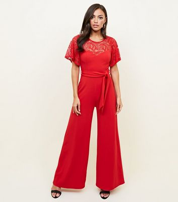 Red Lace Yoke Belted Wide Leg Jumpsuit