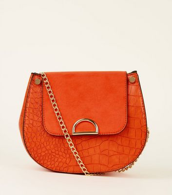 Bright Orange Faux Croc Saddle Bag