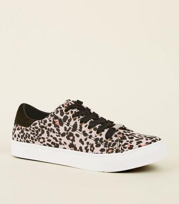 Stone Leopard Print Lace Up Trainers