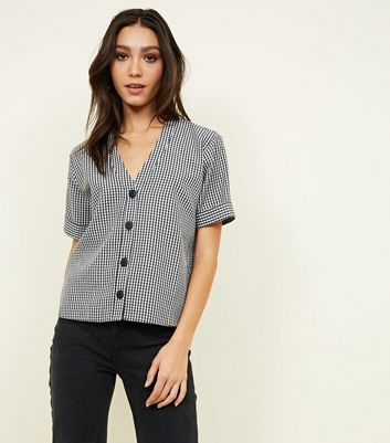Black Seersucker Gingham Boxy Shirt