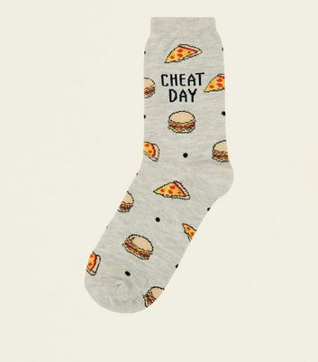 Chaussettes grises à slogan Cheat Day