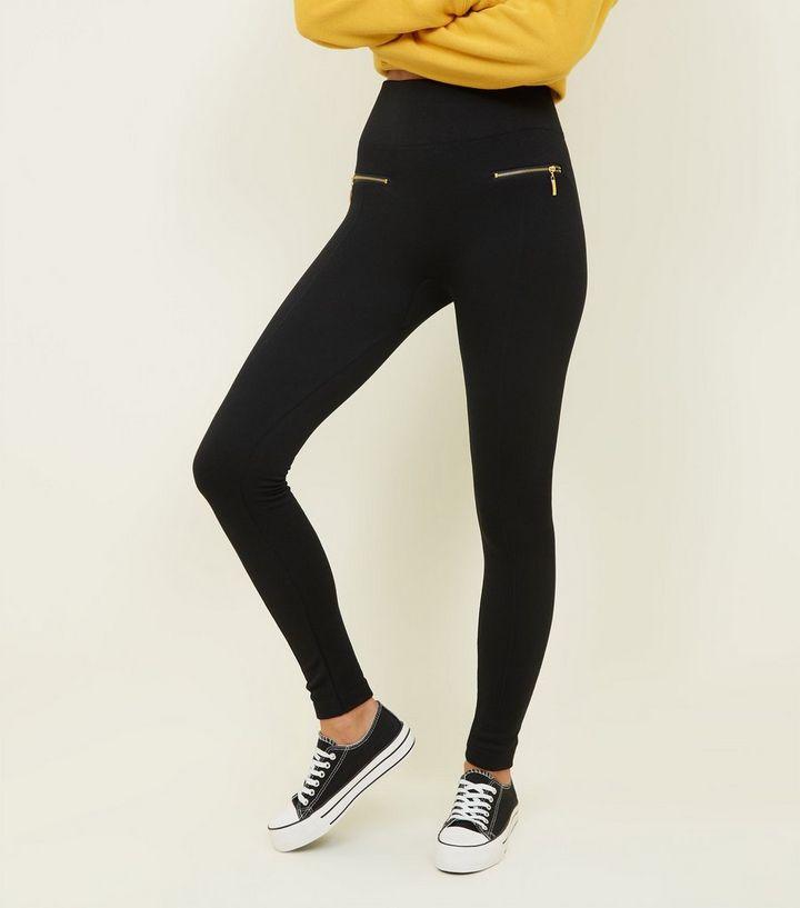 f447108e79e52 Black Gold Zip Skinny Lined Leggings | New Look