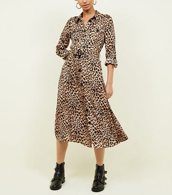 Brown Leopard Print Satin Midi Shirt Dress