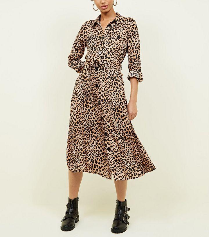 8f4b7e1bda00 Brown Leopard Print Satin Midi Shirt Dress