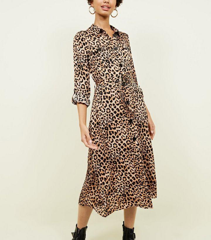 f742c8df63cd ... Brown Leopard Print Satin Midi Shirt Dress. ×. ×. ×. Shop the look
