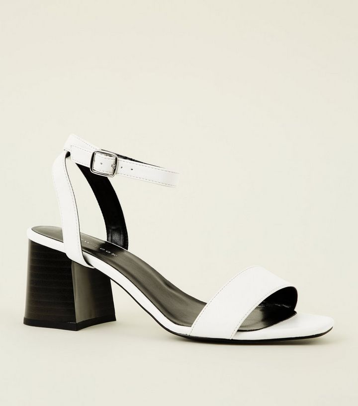 0fee48f54330 White Strappy Flare Heel Block Sandals