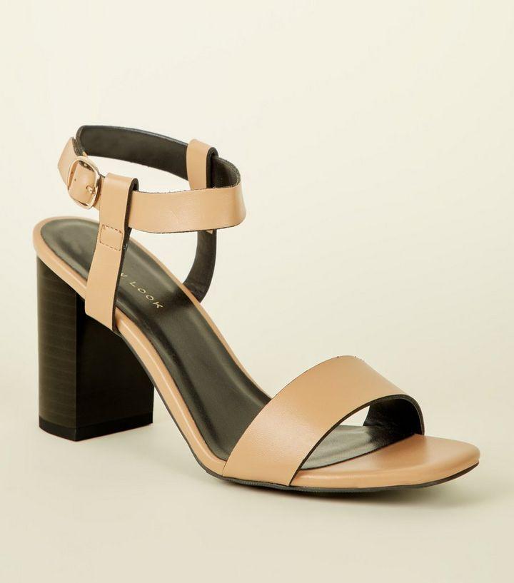 dc6539f95a1 Light Brown Leather-Look Block Heel Sandals