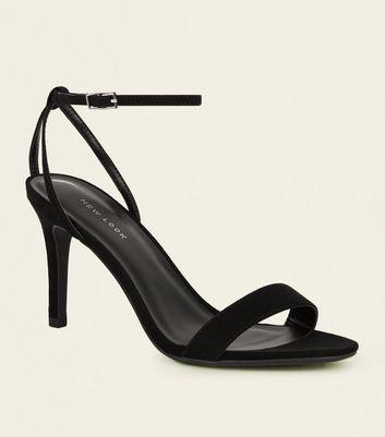 Sandales à talons aiguilles en suédine noire à lanière et