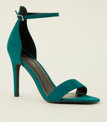 Green Suedette Strappy Stiletto Heels